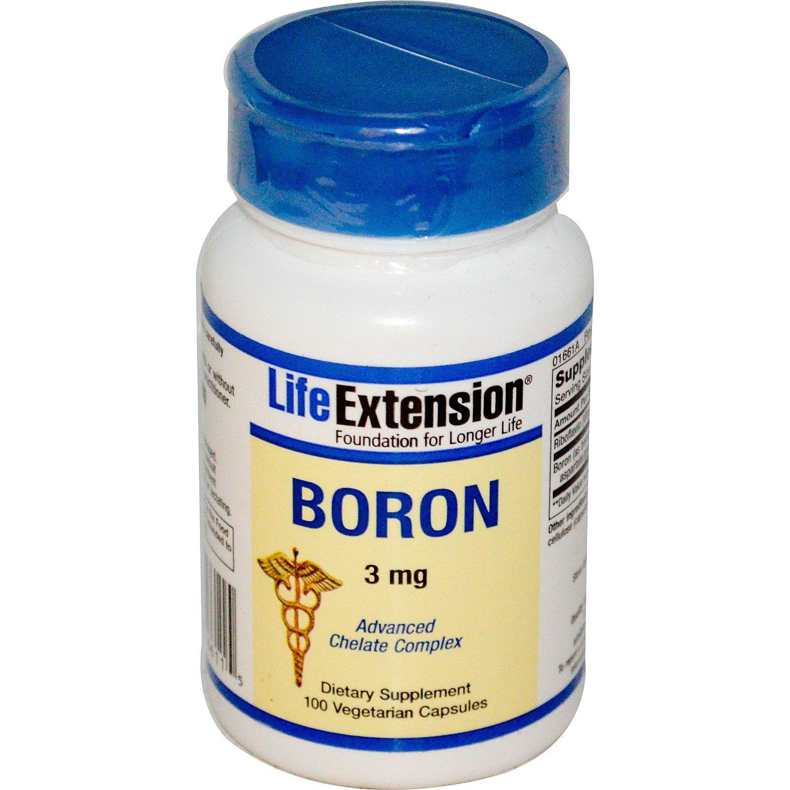 Life Extension, Бор, 3 мг, 100 вегетарианских капсул