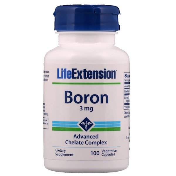 Life Extension, Boron, 3 мг, 100 вегетарианских капсул