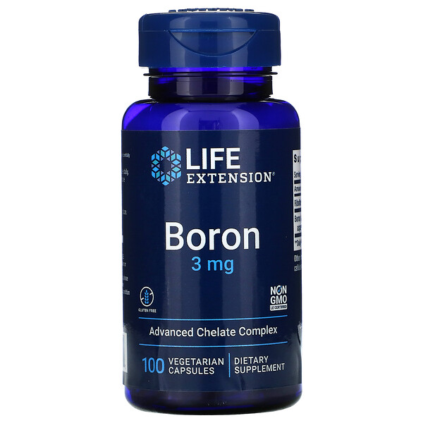 Life Extension, Boro, 3 mg, 100 cápsulas vegetales