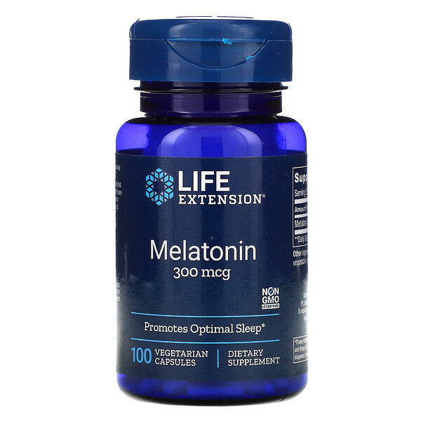 Life Extension, Melatonin, 300 mcg, 100 Vegetarian Capsules