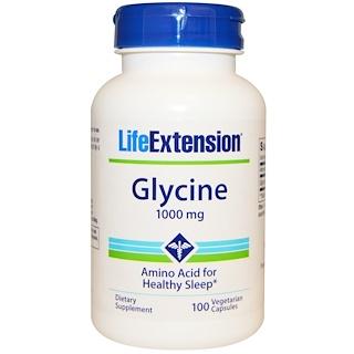 Life Extension, グリシン(Glycine), 1,000 mg, 100粒(ベジタリアンカプセル)
