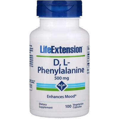 Купить D, L-фенилаланин, 500мг, 100вегетарианских капсул