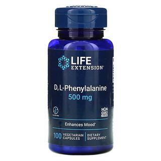 Life Extension, د، ل- فينيل ألانين، 500 مجم، 100 كبسولة نباتية