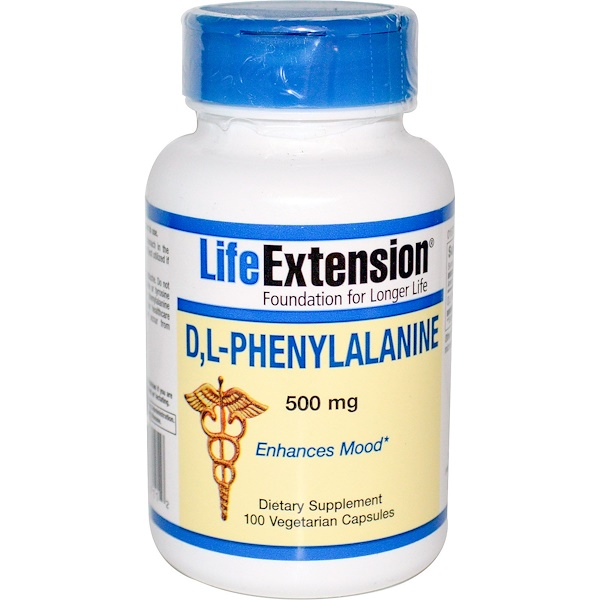 保健品氨基酸DL苯丙氨酸(DLPA):Life Extension, D, L-Phenylalanine, 500 mg, 100 Veggie Caps