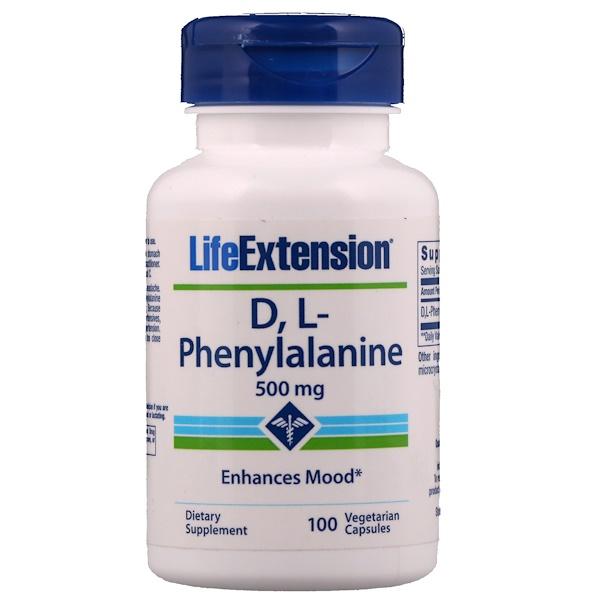 Life Extension, D, L-Phenylalanine, 500 mg, 100 Veggie Caps