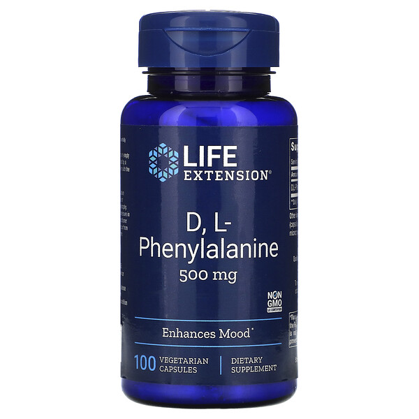 Life Extension, D, L-Phenylalanine, 500 mg, 100 Vegetarian Capsules