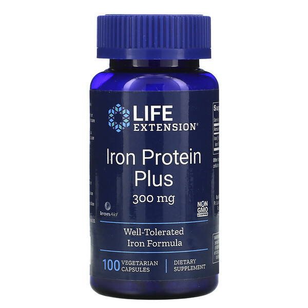 Life Extension, Iron Protein Plus, 300 мг, 100 вегетарианских капсул