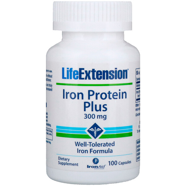 Life Extension, Iron Protein Plus, 300 mg, 100 Capsules