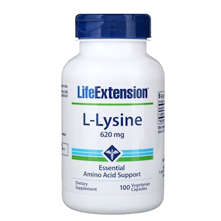 Life Extension, L-Lysine, 620 mg, 100 Vegetarian Capsules