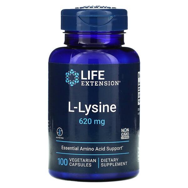 L-赖氨酸,620 毫克,100 粒素食胶囊