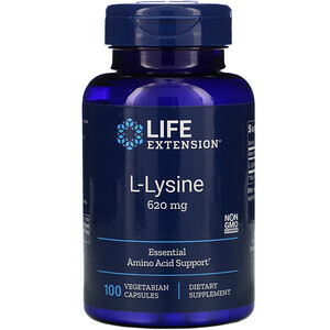 Лайф Экстэншн, L-Lysine, 620 mg, 100 Vegetarian Capsules отзывы покупателей