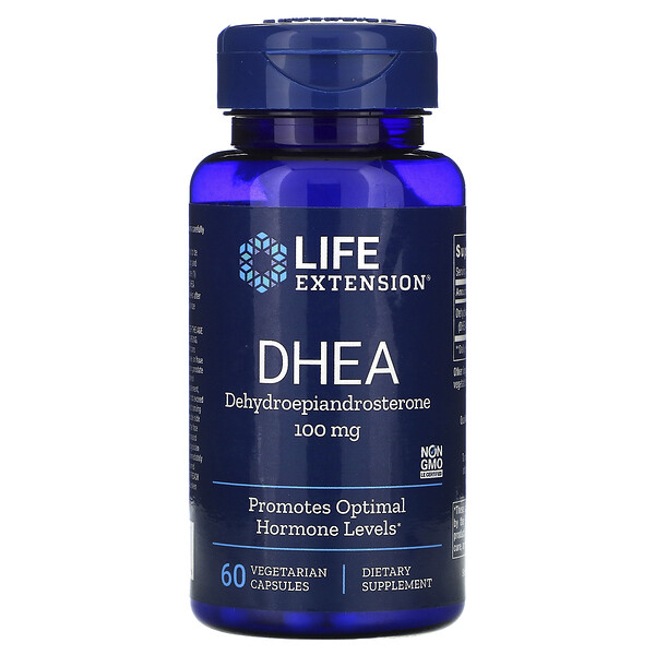 Life Extension, DHEA (ДГЭА), 100 мг, 60 вегетарианских капсул