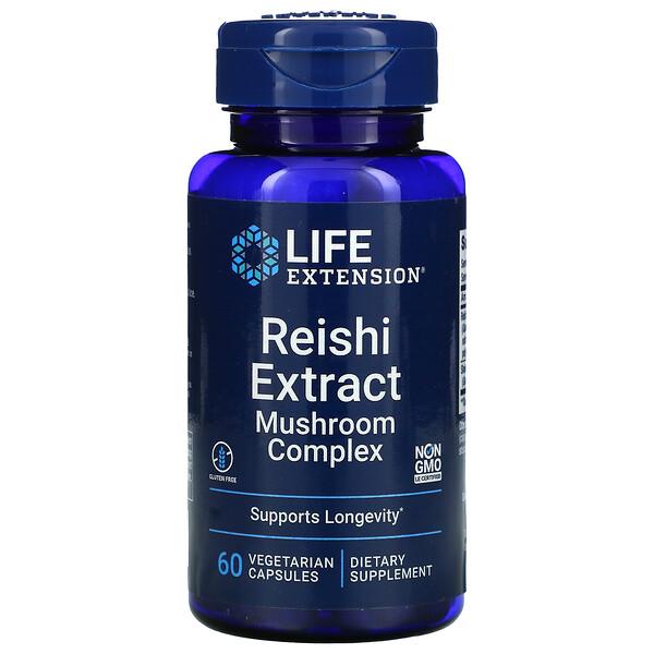 Life Extension, Комплекс с экстрактом грибов рейши, 60 вегетарианских капсул