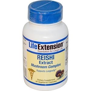 Life Extension, Грибной комплекс с экстрактом Рейши, 60 вегетарианских капсул инструкция, применение, состав, противопоказания