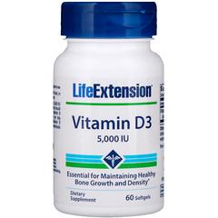 Life Extension, Vitamin D3, 5,000 IU, 60 Softgels