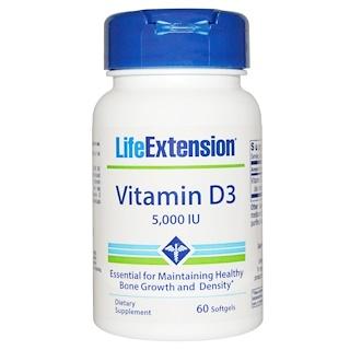 Life Extension, 비타민 D3, 5000 IU, 60 소프트젤