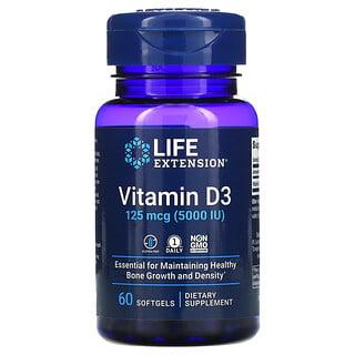 Life Extension, Vitamin D3, 125 mcg (5,000 IU), 60 Softgels