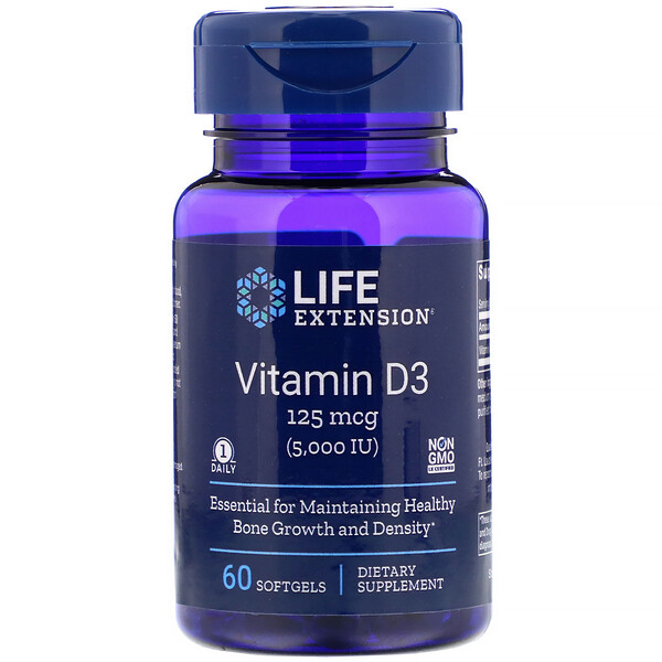 Vitamin D3, 125 mcg (5,000 IU), 60 Softgels