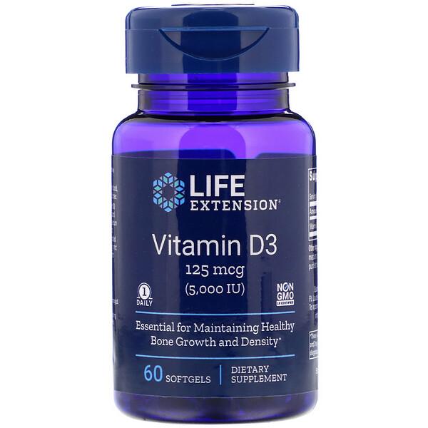 "Life Extension, ויטמין D3, 5,000 יב""ל, 60 כמוסות ג'ל"