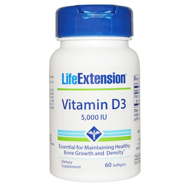 Life Extension, ビタミン D3, 5000 IU, ソフトジェル 60粒