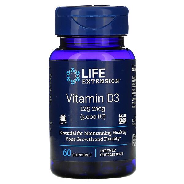 Life Extension, Vitamin D3, 125 mcg (5,000 IU), 60 Softgels