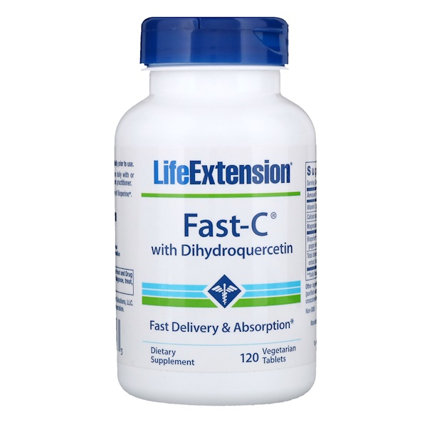 Life Extension, Fast-C with Dihydroquercetin, 120 Vegetarian Tablets