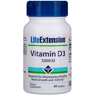 Life Extension, Vitamin D3, 7,000 IU, 60 Softgels