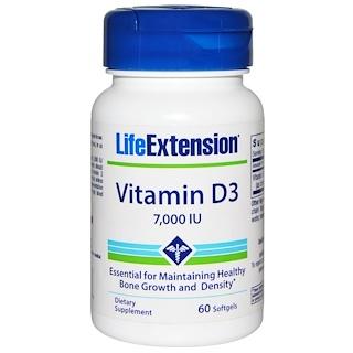 Life Extension, Vitamin D3, 7,000 IU, 60 Softgels