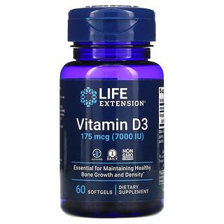 Life Extension, Vitamin D3, 175 mcg (7,000 IU), 60 Softgels