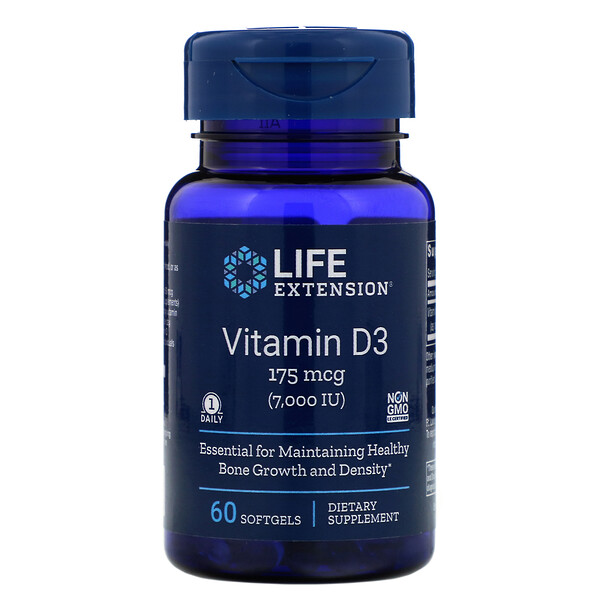 Vitamin D3, 175 mcg (7,000 IU), 60 Softgels