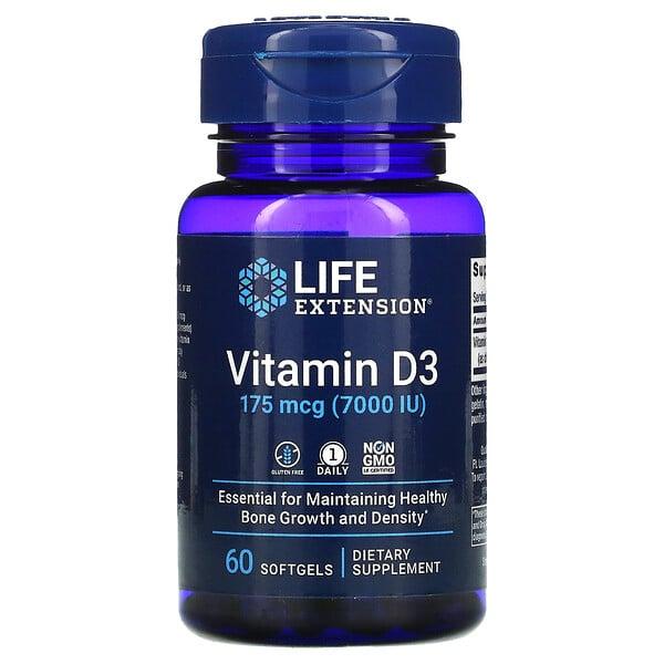 维生素 D3,175 微克 (7,000 国际单位),60 粒软凝胶