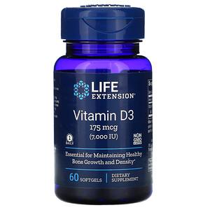 Лайф Экстэншн, Vitamin D3, 175 mcg (7,000 IU), 60 Softgels отзывы