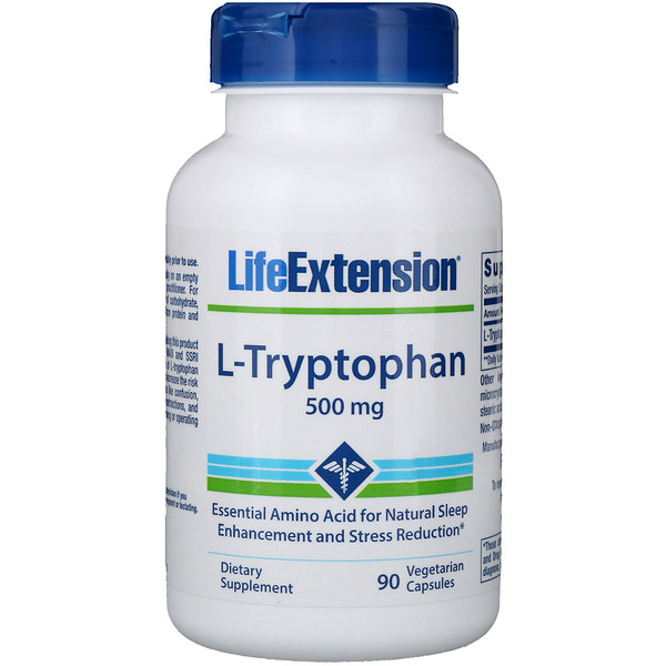Life Extension, L-Tryptophan, 500 mg, 90 Vegetarian Capsules