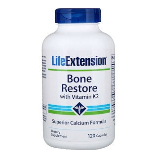 Life Extension, Bone Restore, с витамином K2, 120 капсул