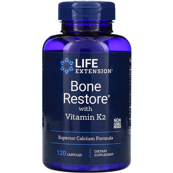 Life Extension, Bone Restore with Vitamin K2, 120 Capsules