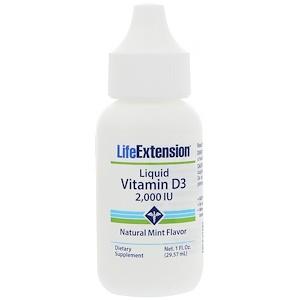 Life Extension, Жидкий витамин D3, натуральный мятный вкус, 2,000 МЕ, 1 жидкая унция (29,57 мл)