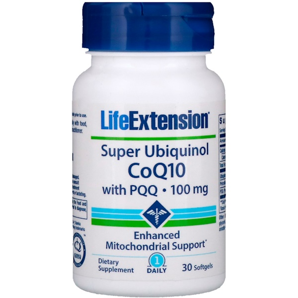 Life Extension, Super Ubiquinol CoQ10 with PQQ, 100 mg, 30 Softgels