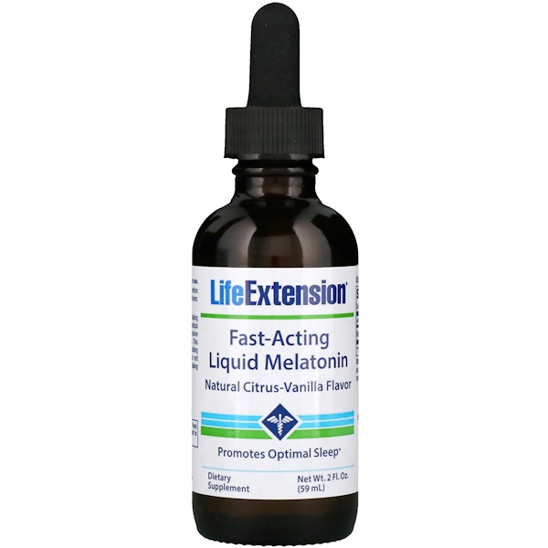 Life Extension, Fast-Acting Liquid Melatonin, Natural Citrus-Vanilla Flavor, 2 fl oz (59 ml) (Discontinued Item)