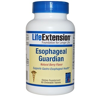 Life Extension, Esophageal Guardian, Natural Berry Flavor, 60 Chewable Tablets