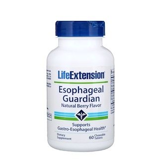 Life Extension, Guardião do esôfago, sabor natural de bagas, 60 comprimidos mastigáveis