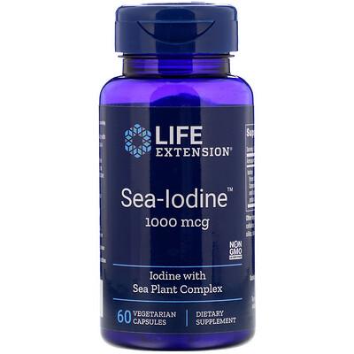 Купить Life Extension Sea-Iodine, Йод, 1000 мкг, 60 вегетарианских капсул