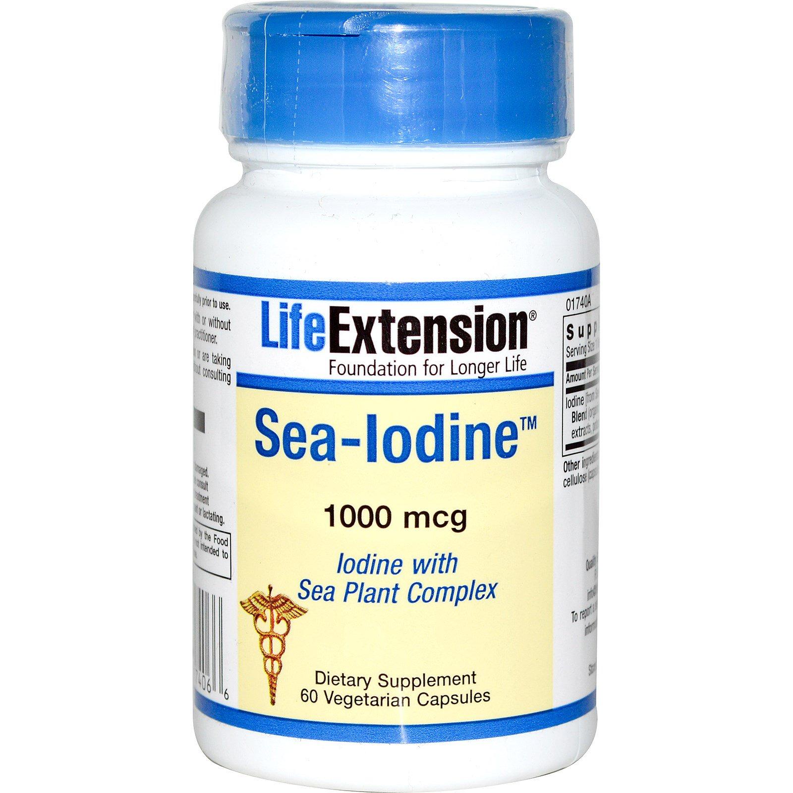 Life Extension, Морской йод, 1000 мкг, 60 растительных капсул