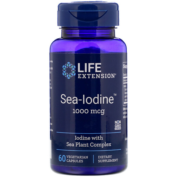 Life Extension, Sea-Iodine، 1000 مكجم، 60 كبسولة نباتية