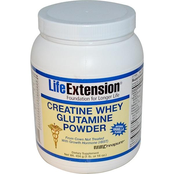 Life Extension, Creatine Whey Glutamine Powder, Natural Vanilla Flavor, 1 lb (454 g) (Discontinued Item)