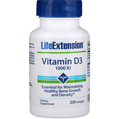 Life Extension, Vitamin D3, 1000 IU, 250 Softgels