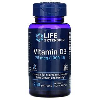 Life Extension, Vitamin D3, 25 mcg (1,000 IU), 250 Softgels