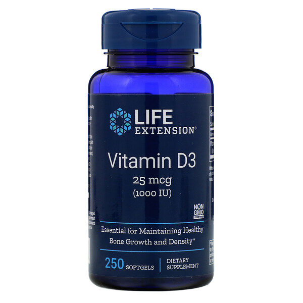 Life Extension, Vitamin D3, 25 mcg (1,000 IU), 250 Softgels