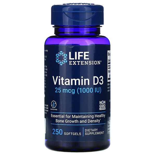 Vitamin D3, 25 mcg (1,000 IU), 250 Softgels