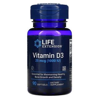 Life Extension, Vitamin D3, 25 mcg (1,000 IU), 90 Softgels