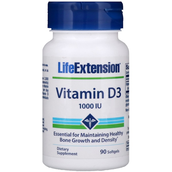 Life Extension, Vitamin D3, 1000 IU, 90 Softgels (Discontinued Item)
